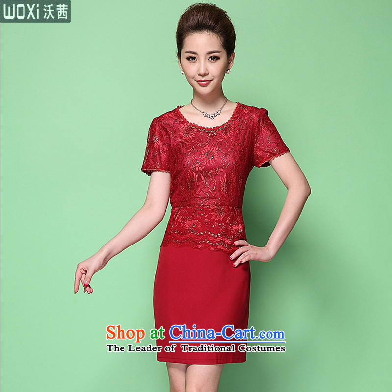 Mrs Ure�2015 Summer Kosovo mother large middle-aged dresses Silk Cheongsam wedding dress happy Sau San 6371 skirt RED�M