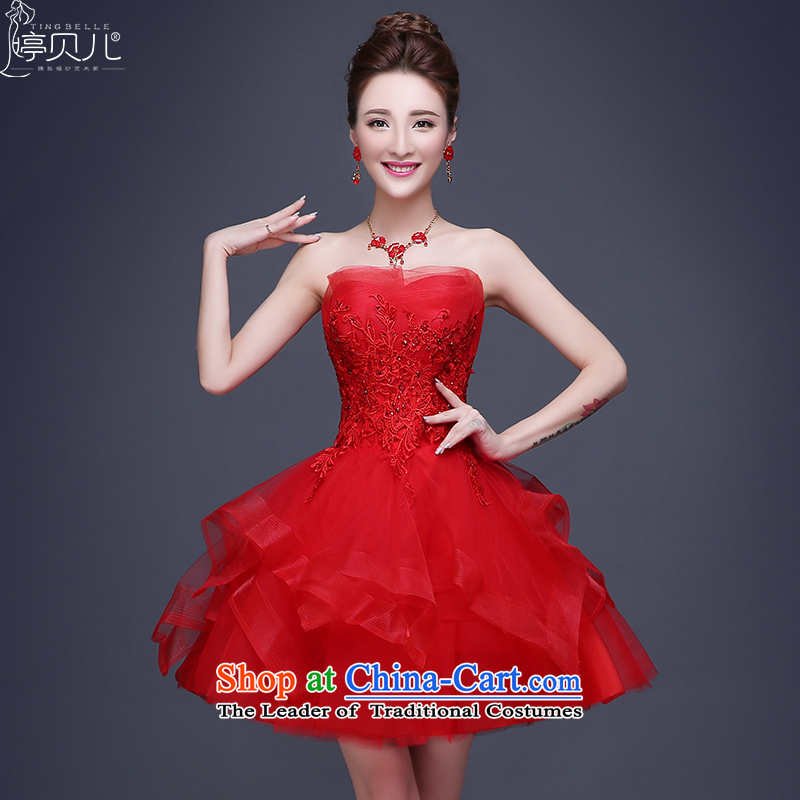Beverly Ting 2015 new anointed chest bows Service Bridal winter short, red wedding dress small dress evening dress strap video thin red聽XL