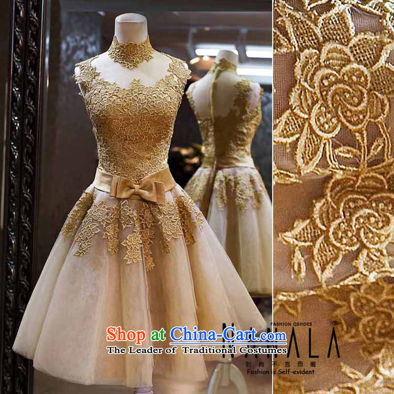 2015 new summer short word, stylish shoulder Korean version of large code marriages bows to red dress banquet Brown�M