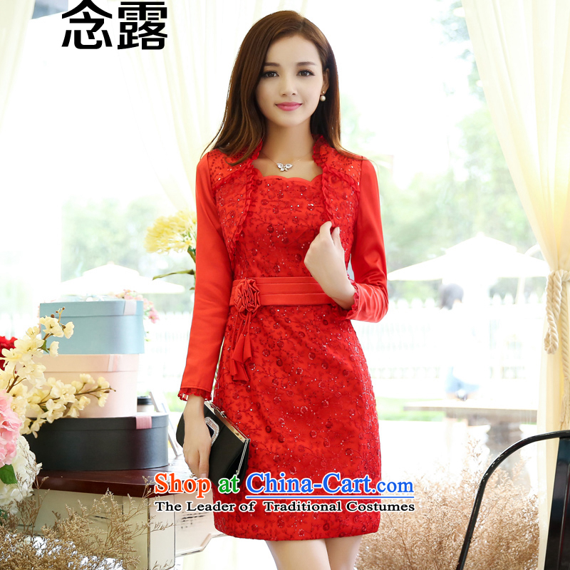 Mindful that the terrace in the summer and autumn spring 2015 Women's new Korean stylish package and Sau San lace betrothal back door bows marriage bride dresses kit two small red dress?XL(105-115 catties)