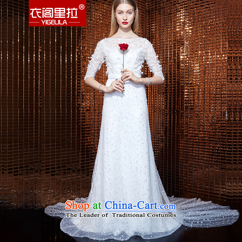 Yi Ge lire aristocratic temperament heavy industry in embroidery cuff round-neck collar snowflake woven stereo flowers dresses banquet dress skirt evening dress white 61054 M