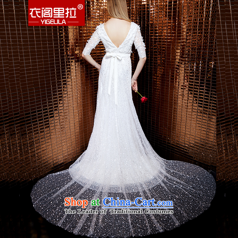 Yi Ge lire aristocratic temperament heavy industry in embroidery cuff round-neck collar snowflake woven stereo flowers dresses banquet dress skirt evening dress 61054 M Yi cabinet white liras (YIGELILA) , , , shopping on the Internet