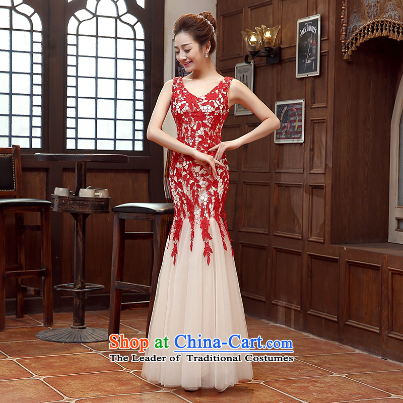 Pure Love bamboo yarn 2015 new red bride wedding dress long evening dresses evening drink service red shoulders Sau San dress red?L