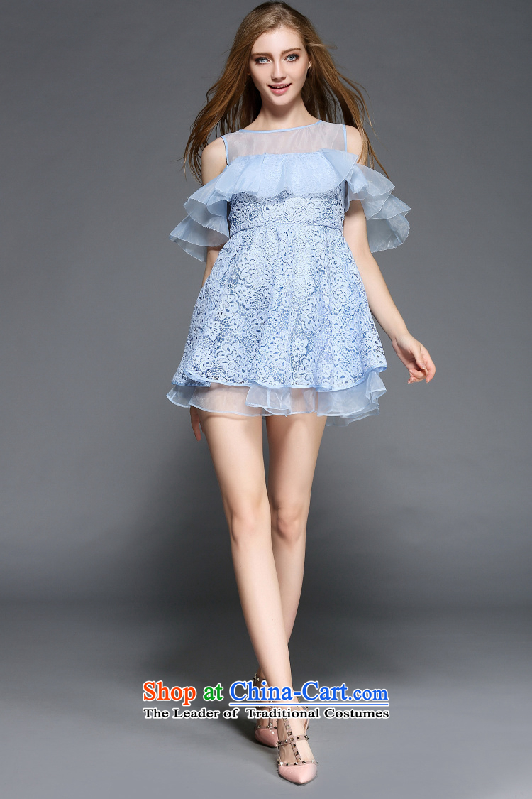 Caynova2015 summer the new Europe and the heavy industry the stylish yarn billowy flounces water-soluble embroidery dress skirt light blue聽XL Photo, prices, brand platters! The elections are supplied in the national character of distribution, so action, buy now enjoy more preferential! As soon as possible.