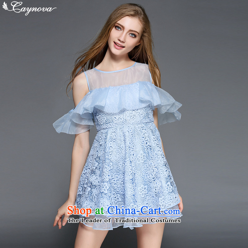 Caynova2015 summer the new Europe and the heavy industry the stylish yarn billowy flounces water-soluble embroidery dress skirt light blue�XL