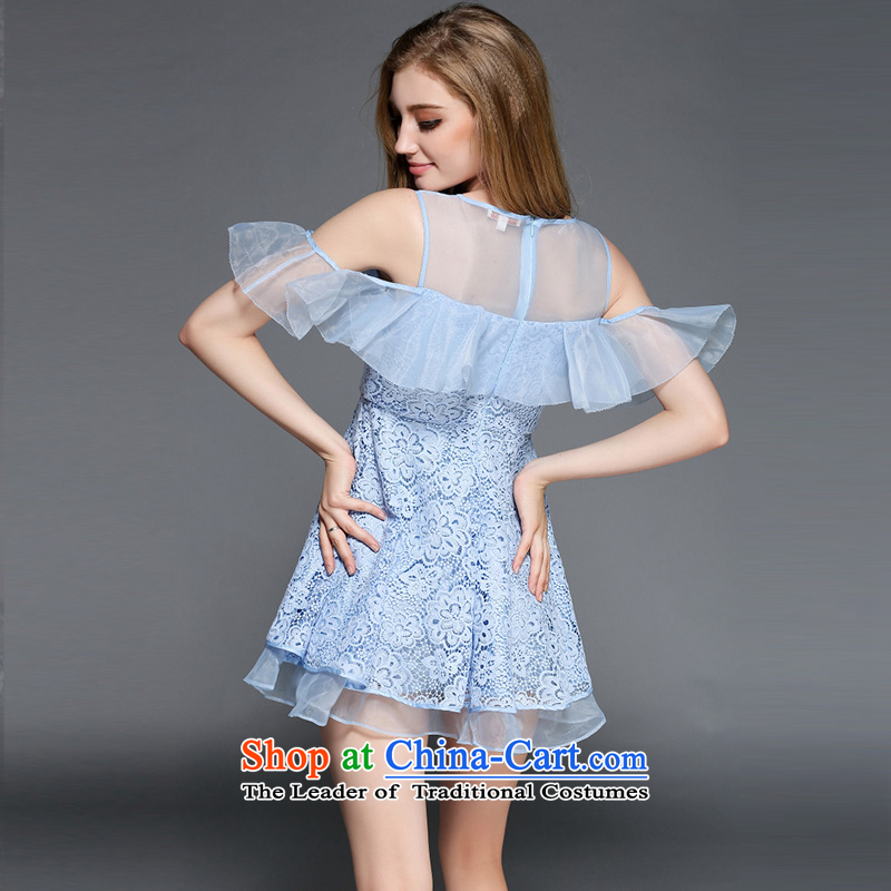 Caynova2015 summer the new Europe and the heavy industry the stylish yarn billowy flounces water-soluble embroidery dress skirt light blue聽xl,caynova,,, shopping on the Internet
