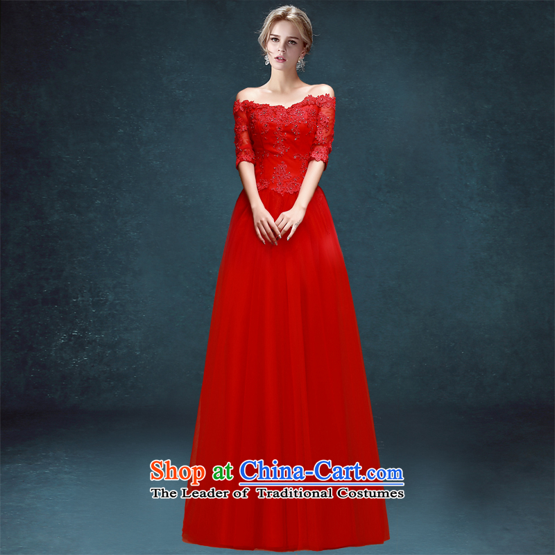 Each high toasting champagne bride services Connie stylish 2015 new word wedding dress shoulder long red dress female red banquet tailored does not allow