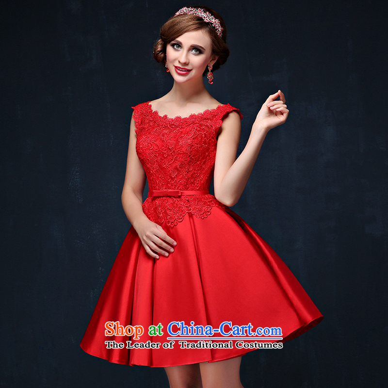 Red bows services 2015 Summer new Korean short, shoulders straps dress bride banquet evening dresses red?L waist 2.2)