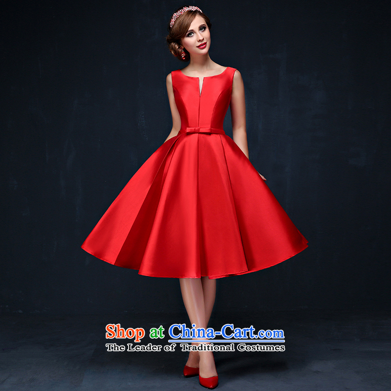 The bride dress bows services new Korean Red shoulders short of marriages bows services video thin red dress banquet?PUERTORRICANS waist 2.0)