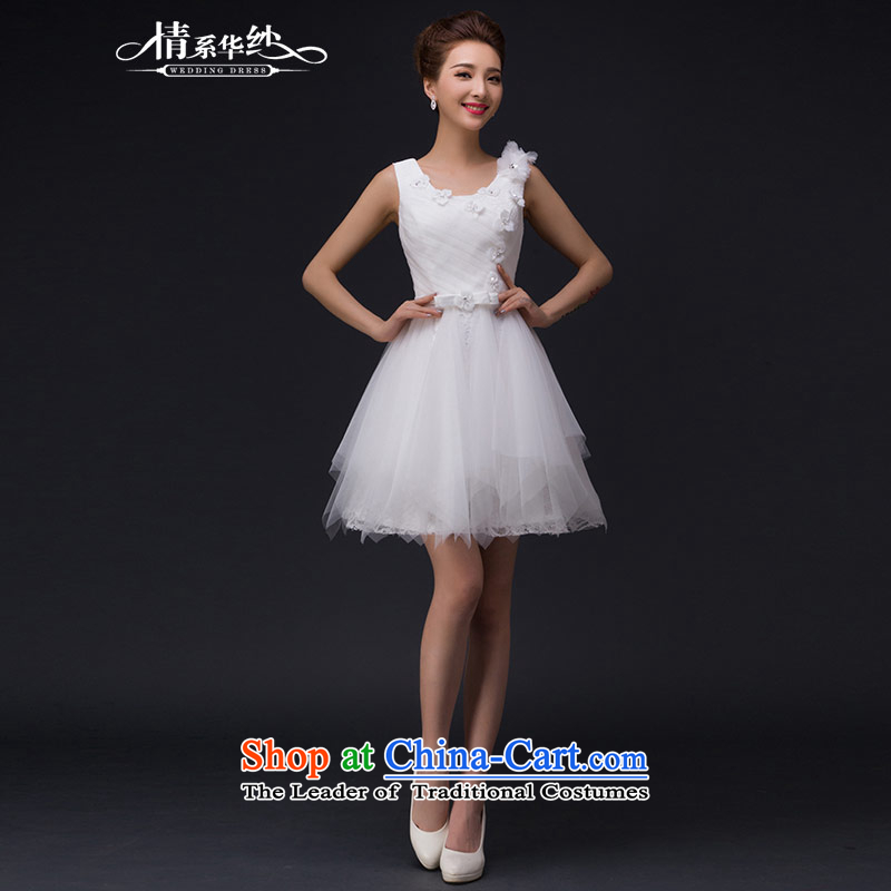 Qing Hua yarn wedding dresses 2015 new word of autumn and winter flower shoulder round-neck collar diamond gauze small dress short skirt White�M