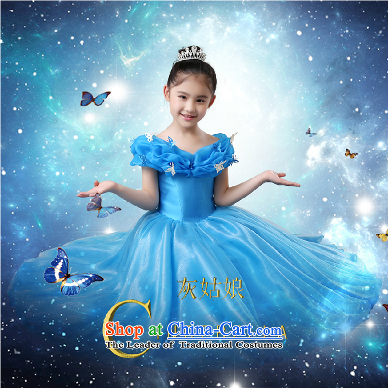 The first white into about girls dress Cinderella with Princess skirt flower girl children go graduated birthday dress show host costumes Blue?150cm