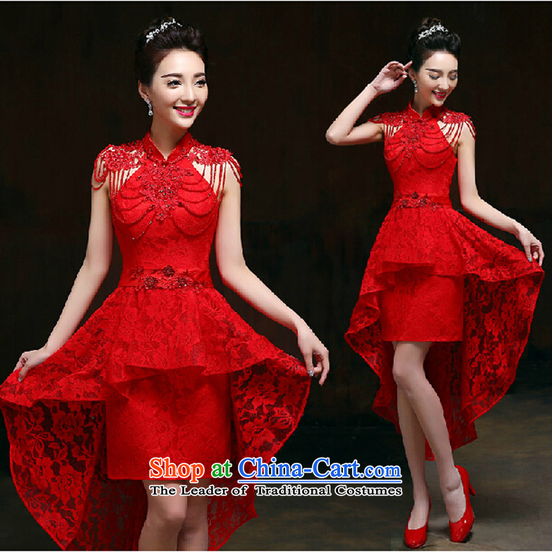 Pure Love bamboo yarn 2015 new red bride wedding dress long evening dresses evening drink service red shoulders Sau San dress RED聽M