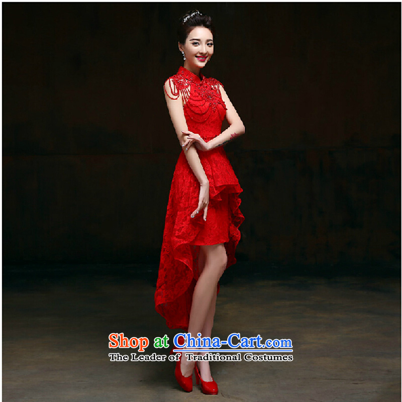 Pure Love bamboo yarn 2015 new red bride wedding dress long evening dresses evening drink service red shoulders Red Dress M pure Sau San love bamboo yarn , , , shopping on the Internet