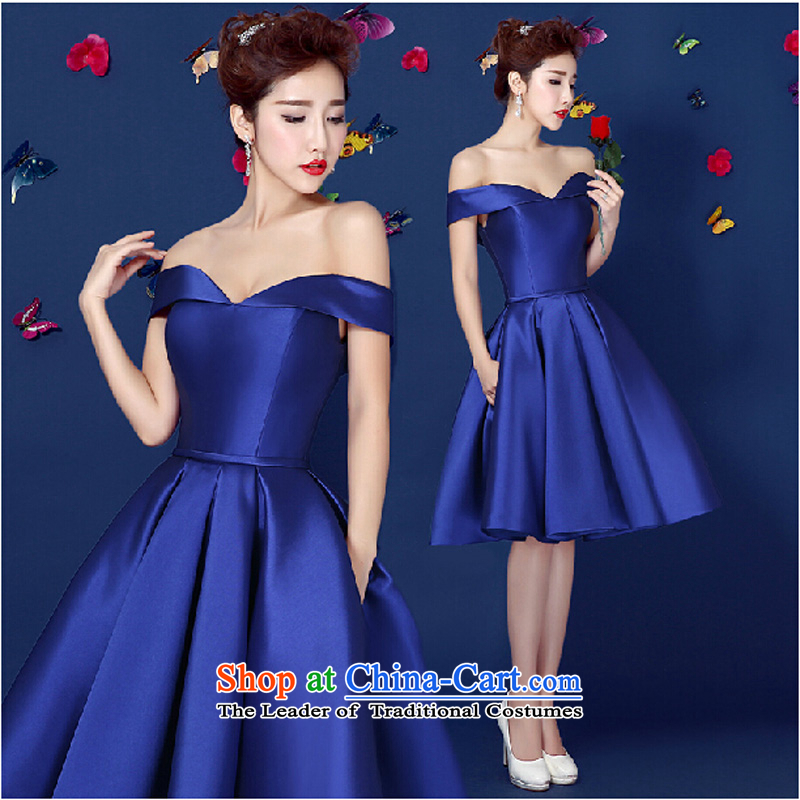 Pure Love bamboo yarn upscale dinner dress 2015 Summer new Korean word lace shoulder sleeveless bride bridesmaid bows banquet annual blue?L
