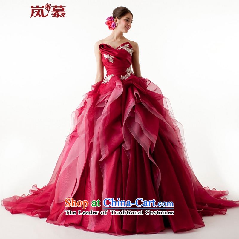 The sponsors of the original design of 2015 wrapped chest bon bon skirt multi-tier bridal dresses ceremony will dress as shown in dark red Custom Size
