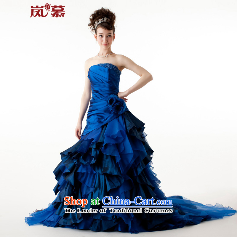 The sponsors of the?original design of 2015 Po-blue dress bon bon skirt long tail bridal dresses will figure blue Custom Size