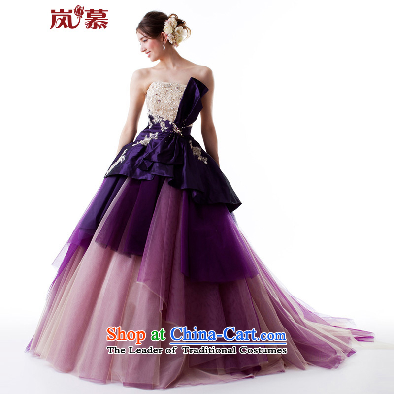 The sponsors of the?original design of large 2015 bon bon skirt tail purple bridal dresses ceremony dress will figure purple Custom Size