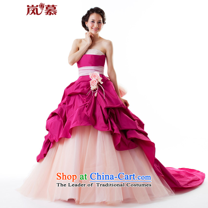 The sponsors of the?original design of large 2015 bon bon skirt tail multi-storey style skirts the ceremony dress will figure red?XL( chest 95 Waist79)