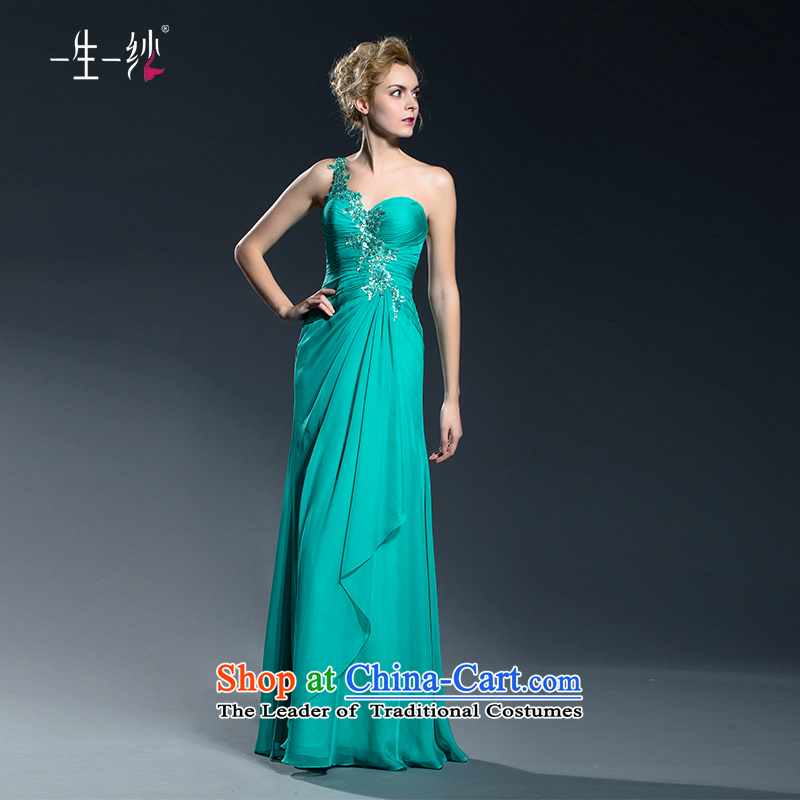 The bride stylish banquet shoulder?2015 new toasting champagne dress uniform autumn moderator dress long large evening dresses Top Loin 402401334?170/94A Green Day 30 pre-sale