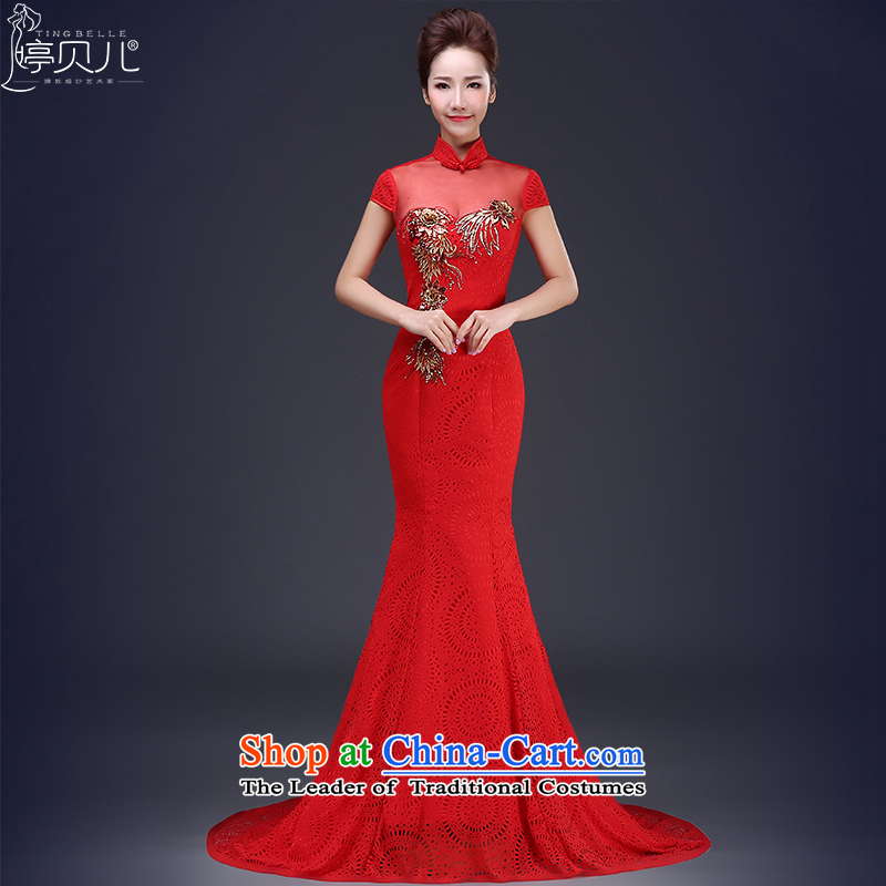 Beverly dress Ting 2015 new summer marriages crowsfoot bows to Korean style of Sau San graphics and slender banquet dress female red�L