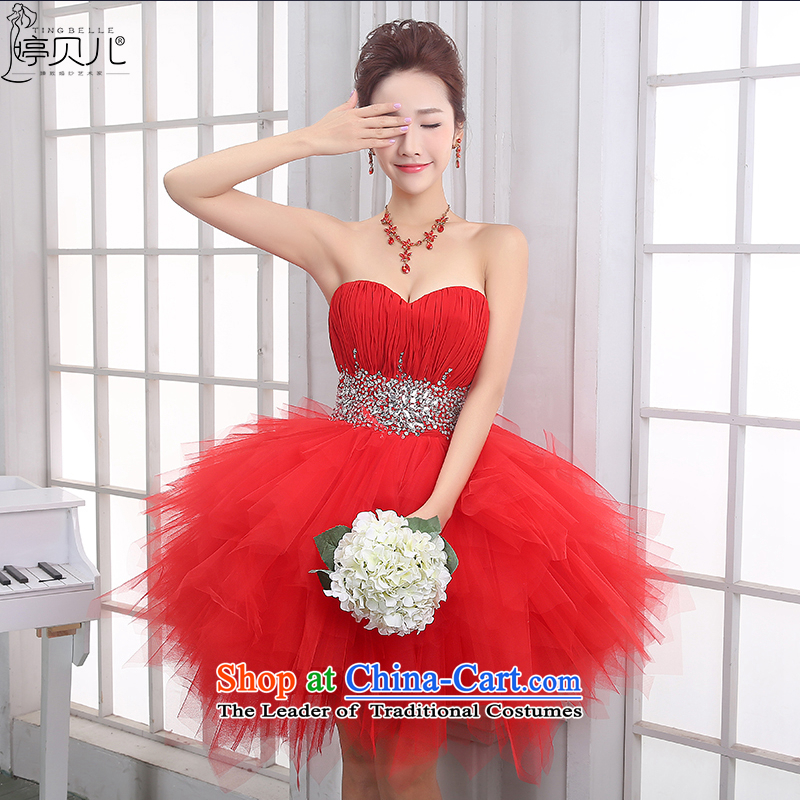 Beverly Ting bride bows services Summer Wedding Dress 2015 New Evening Dress Short, red bridesmaid service back to the chest and door onto the spring red?S