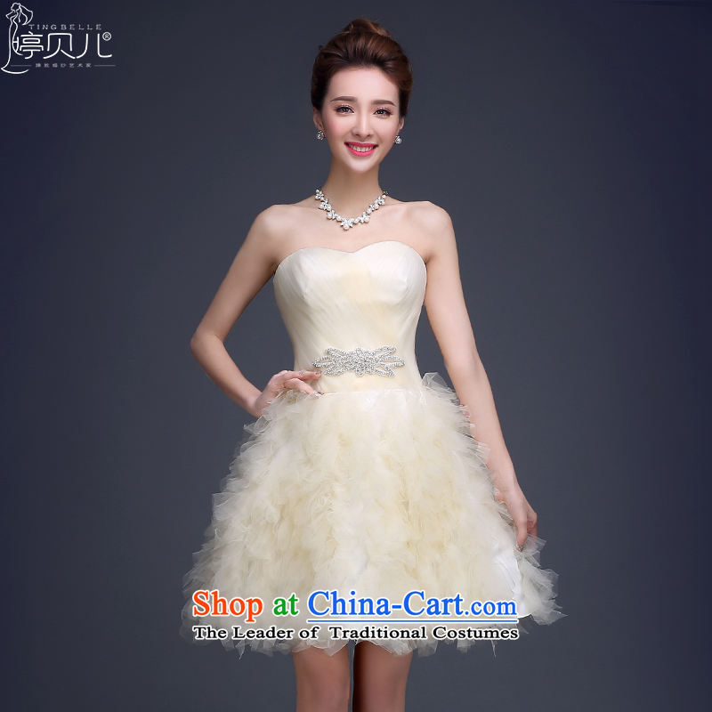 Beverly Ting evening dresses Summer 2015 new marriages and chest lace bridesmaid service, red bows to Sau San female Chun champagne color聽S
