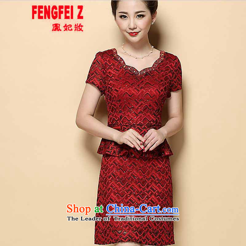 Feng Fei, Colombia15 2015 new summer mother Sau San short-sleeved dresses temperament leave two kits wedding-dress #6385 red?XL