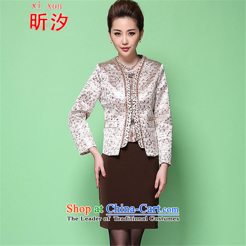 The litany of desingnhotels? wedding dresses Mother & replace dresses Kit 2015 Spring New Middle-aged Korean version of large numbers of ladies #6368 enamels lattice?Xl(170/92a)