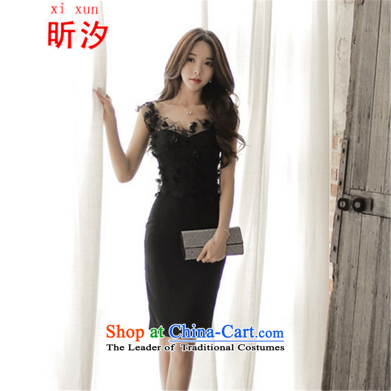 Xin Xi Zhi? &2015 new sexy beauty stitching Mesh embroidered dress banquet dress temperament package and dresses #769 Black (two kit) XL