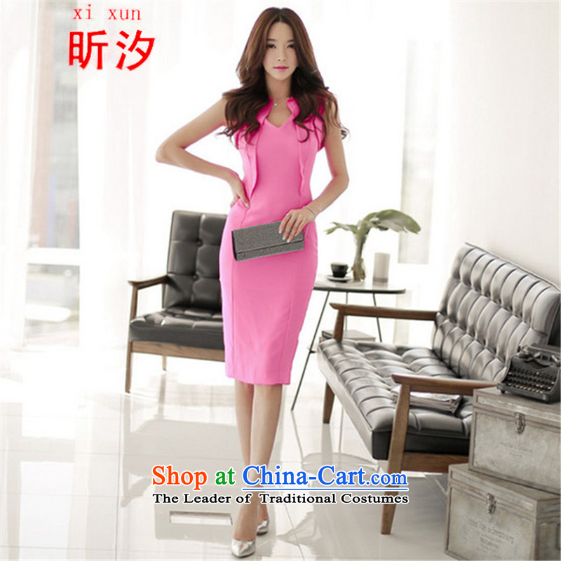 Xin Xi Zhi? &2015 new Korean women's fashion sense billowy flounces V-neck strain package and dresses small dress skirt #762 peach?L
