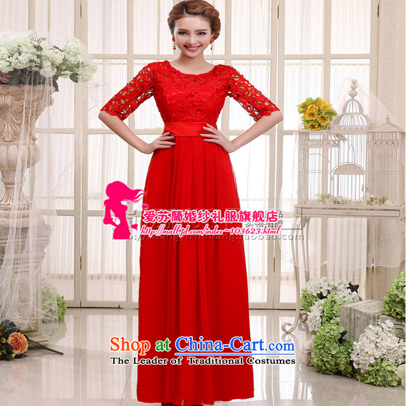 The new red married women serving the word bows shoulder lace stylish Sweet dress     in the Cuff long?XXXL Red Dress