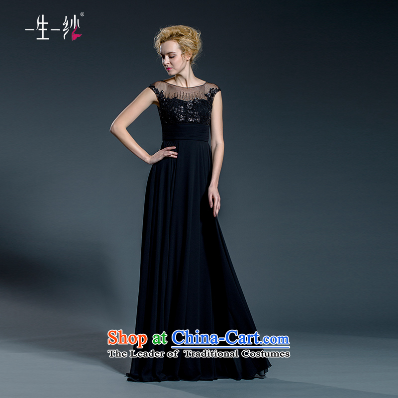 A lifetime of evening dresses long moderator female black dinner dress round-neck collar slotted shoulder?502411448??160/84A black thirtieth day pre-sale