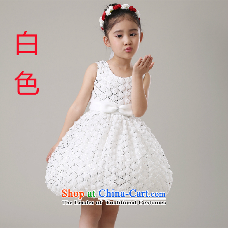 The first white into about the new girls children dress princess birthday small dress students dance performance services bon bon skirt white�100cm
