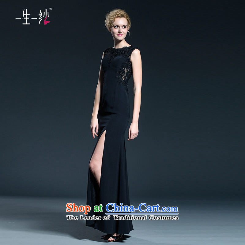 A lifetime of banquet evening dresses moderator black sexy reception dress stylish?black?170/92A 402401364 Sau San female 30 days of pre-sale