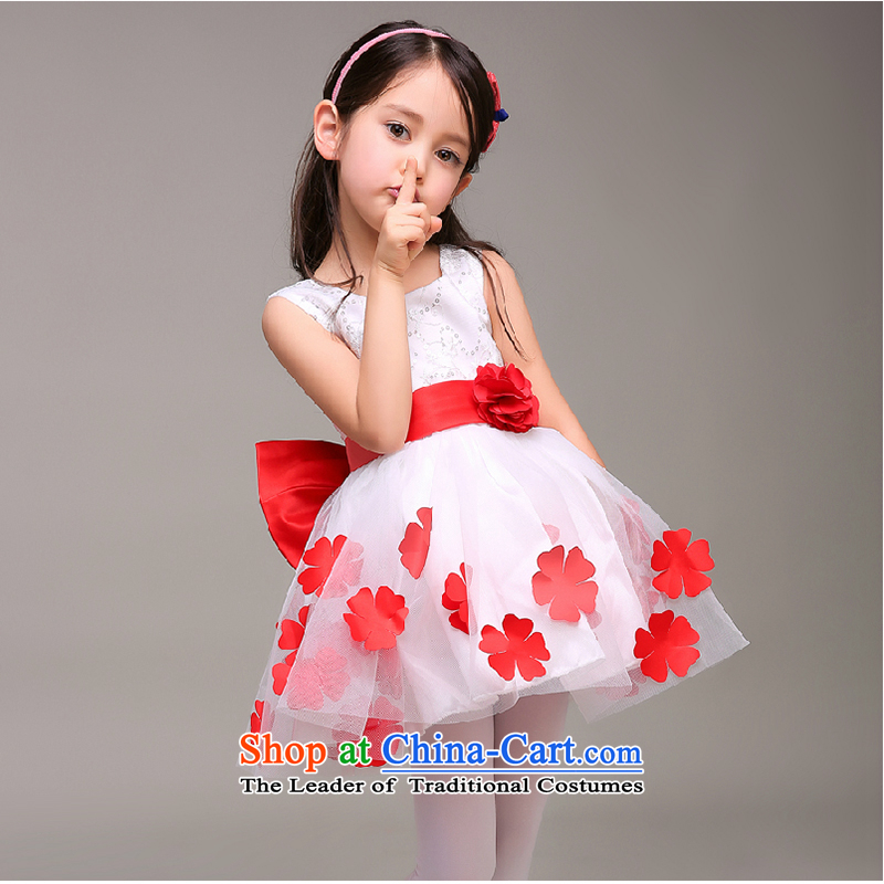 The first white into about 2015 children dress princess skirt girls show spring and summer evening dresses Flower Girls wedding dress dances bon bon White Flower Service 110cm,