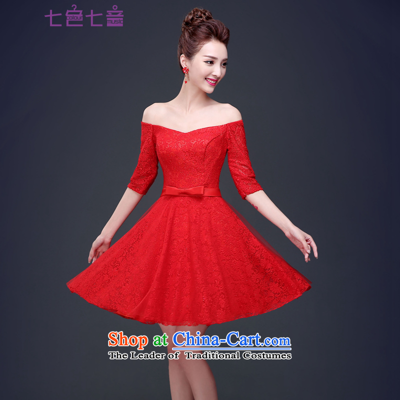 7 7 color tone?2015 New Red slotted shoulder marriages lace Korean bows wedding dresses?L043 services?tailored red (non-refundable)