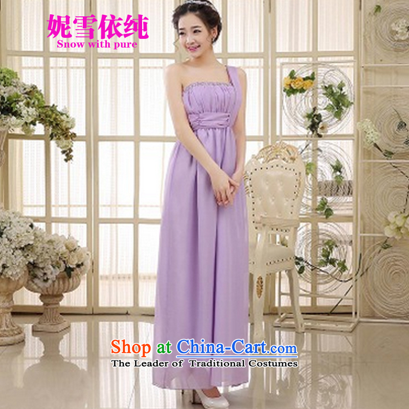 In accordance with the pure�2015 Connie snow new evening dress bridesmaid mission sister skirt the girl brides bows to Sau San tie long bridesmaid wedding dresses5064 purple�S