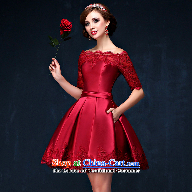 A bride dress bows field shoulder small short, Retro in dress cuff marriages bows to large long-sleeved red wine video thin evening dresses moderator services deep red聽XL_ waist 2.3_