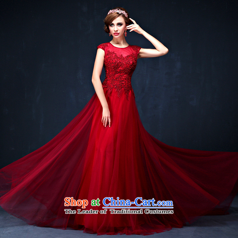 The bride services 2015 Summer bows new Korean shoulders wine red video thin banquet long marriage evening dress dark red?XL( waist 2.3)