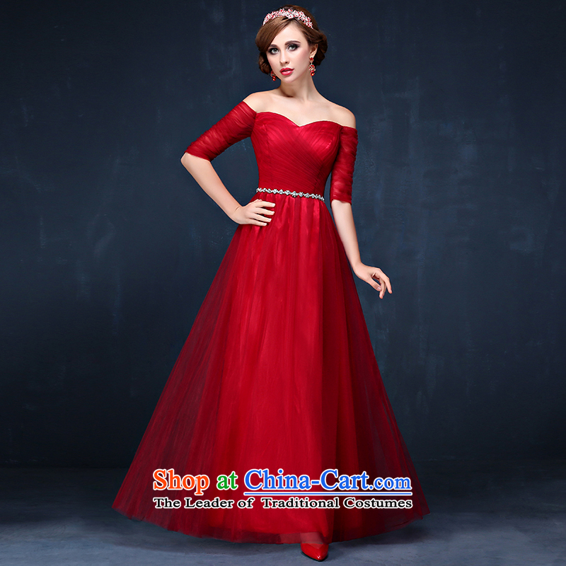 The bride dress new 2015 wine red slotted shoulder length of video thin evening dress with a drink service     Summer Wine red?XXL_ waist 2.4_