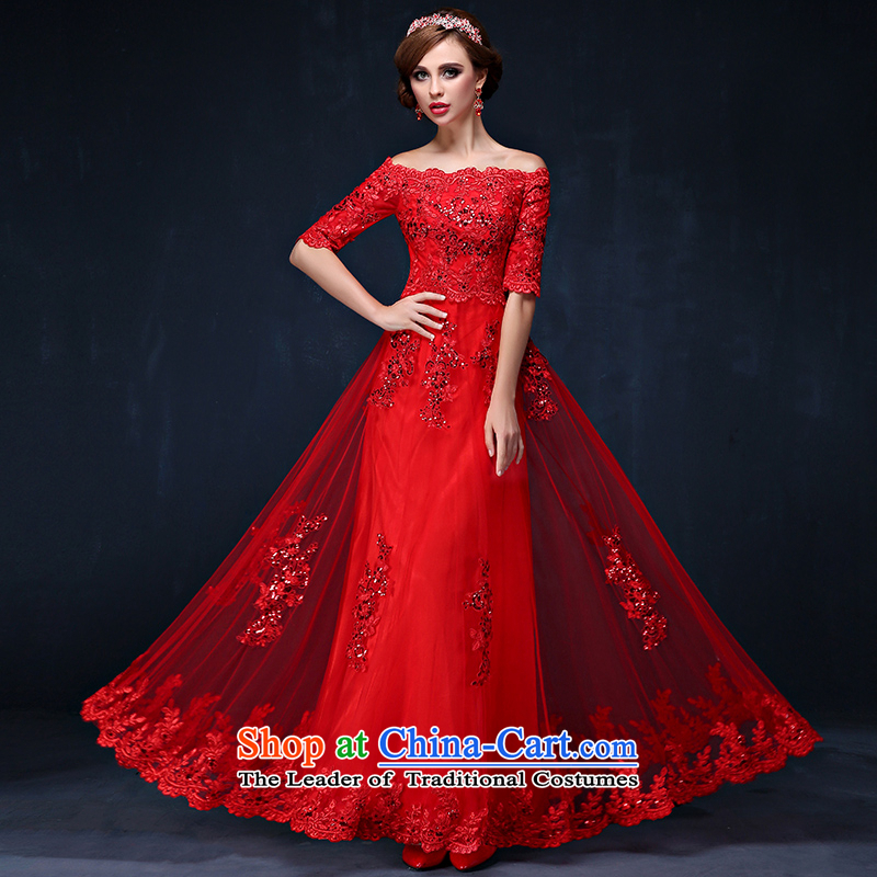 The bride dress bows services new spring and summer 2015 new lace a field in red sleeved video shoulder thin bride long service RED聽M waistline bows 2.1_