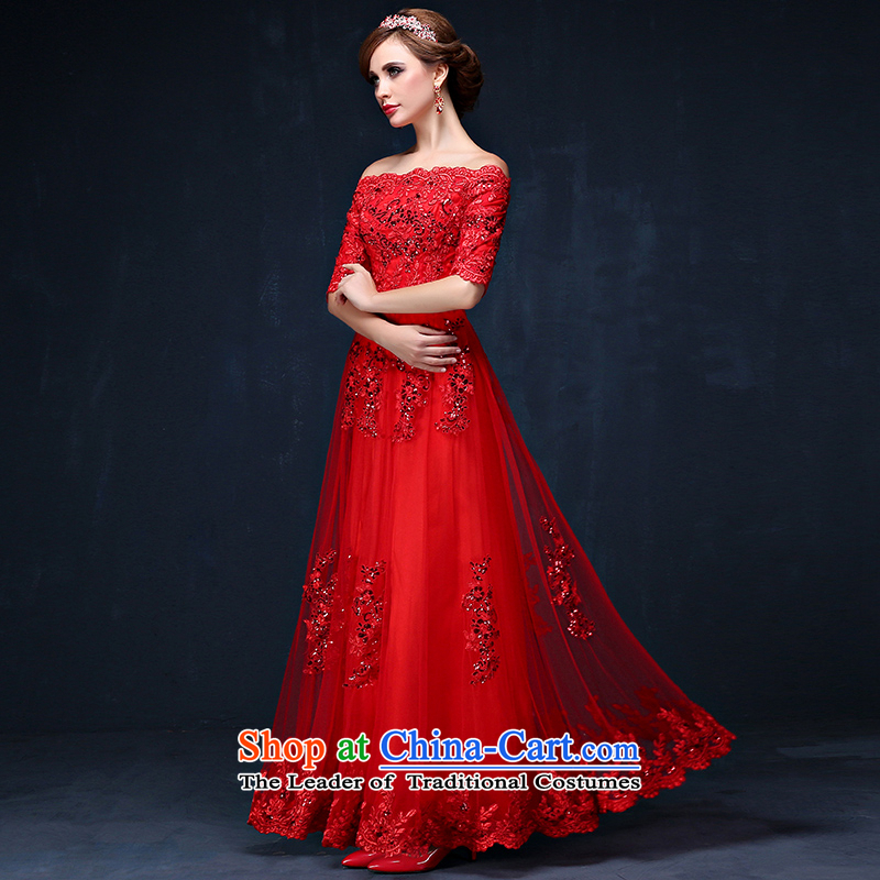 The bride dress bows services new spring and summer 2015 new lace a field in red sleeved video shoulder thin bride long service RED聽M waistline bows 2.1), Mrs Alexa Lam Roundup , , , shopping on the Internet