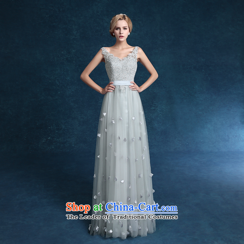 Each聽new 2015 Connie evening dresses silver gray shoulders Sau San marriages to a high standard and style dinner drink service dress Silver Gray Light Gray tailored does not allow