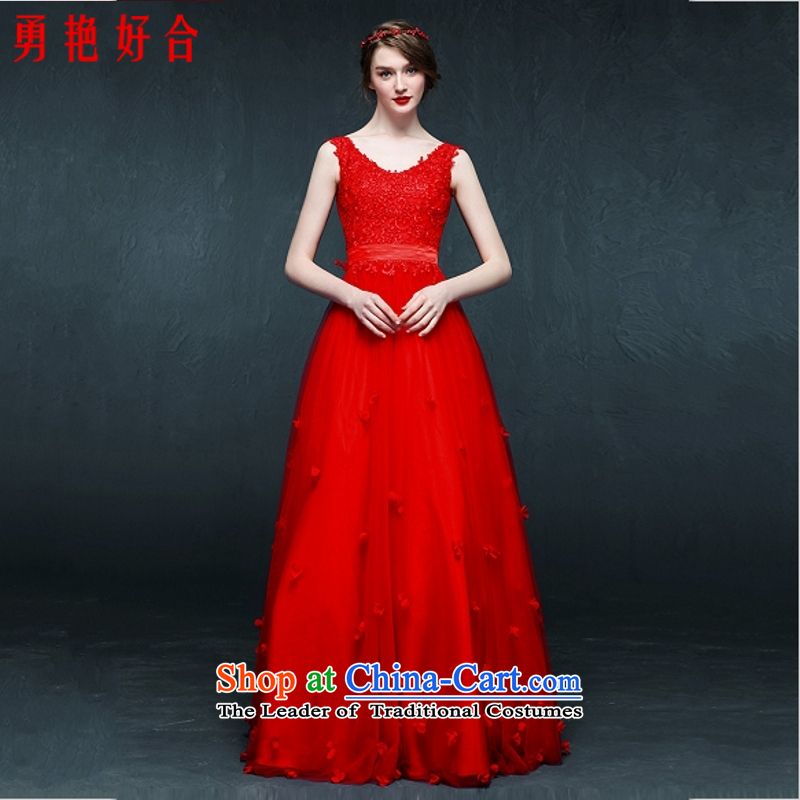 Yong-yeon and?bride wedding dresses 2015 bows services usual zongzi color lace long V-Neck Strap evening dresses dresses red color made no refunds or exchanges Size