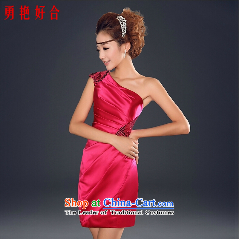 Yong-yeon and?2015 new summer bridesmaid Dress Short, bows to marry the bride shoulder Sau San banquet dress female red?L