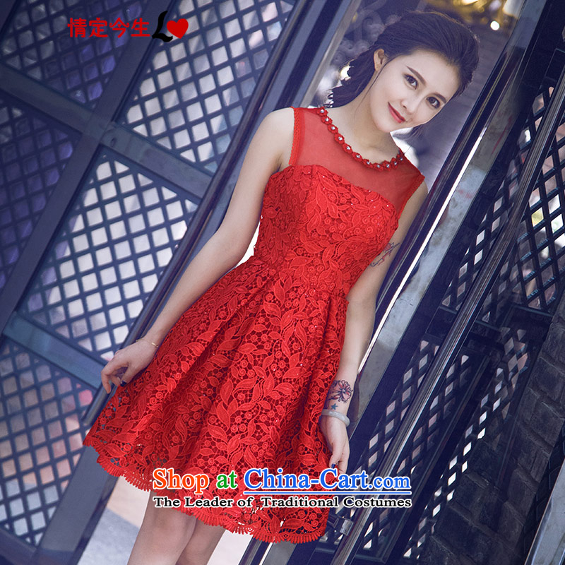 Love of the life of the new 2015 Korean red circle in the summer for diamond short, bows to marry the bride small dress red?XS