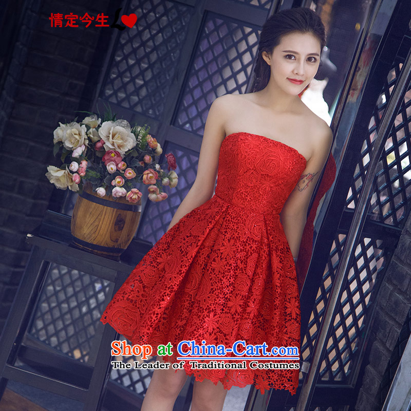 Love of the life of the new 2015 Korean Red and summer chest lace Foutune of graphics and knee Short Thin Bridal Services dinner drink small red dress tailor-made exclusively concept Message Size