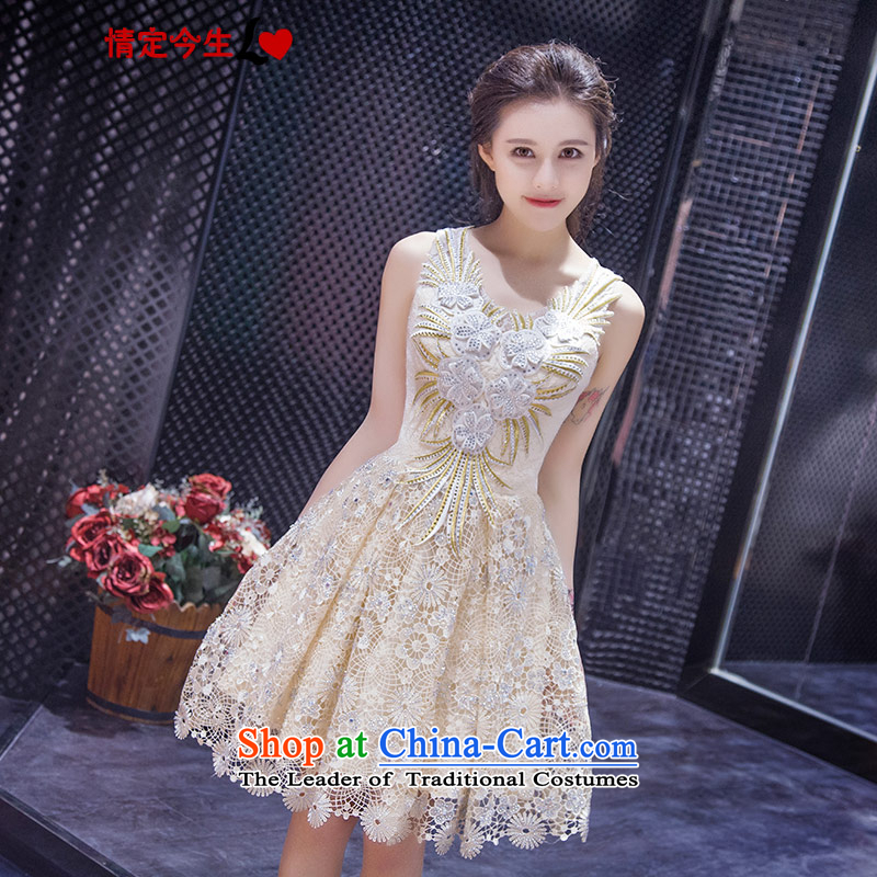 Love of the life of the new 2015 Summer retro Foutune of champagne color graphics thin straps lace small dress marriage bridesmaid to skirt champagne color�XS