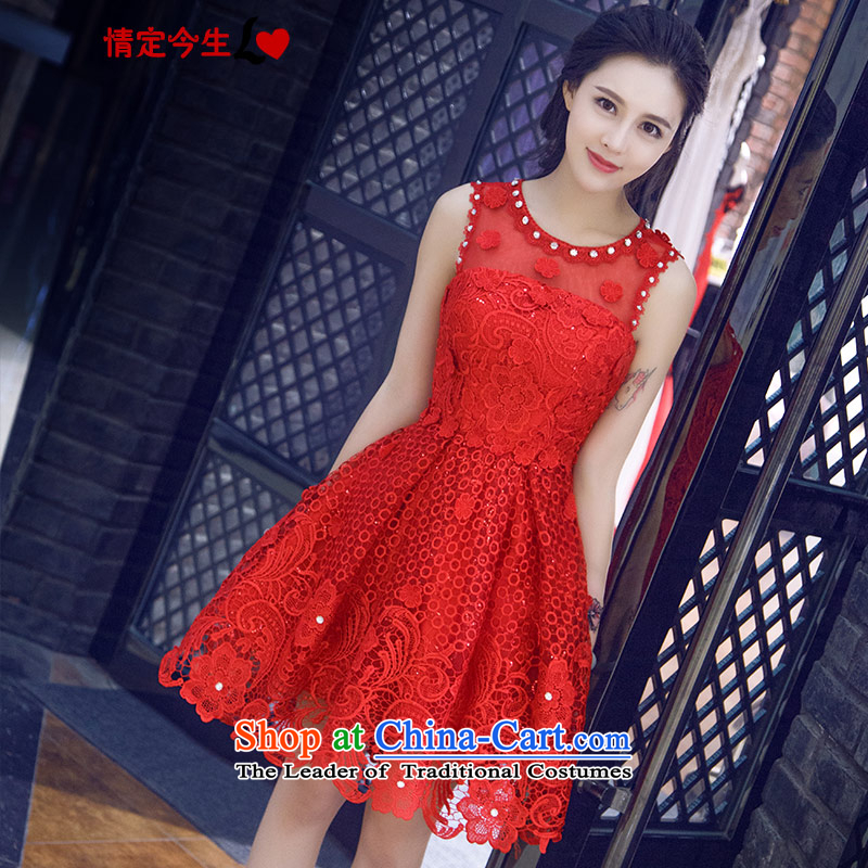 Love of the life of the new Word 2015 Summer Korean upscale shoulder red lace diamond round-neck collar sweet bridal dresses red?XS