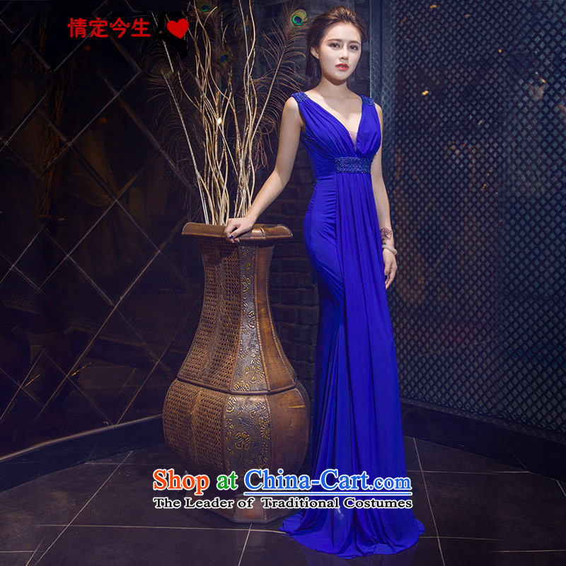 Love of the life of the new 2015 sexy deep V-Neck Crowsfoot Sau San video upscale banqueting dress thin blue long skirt blue?S